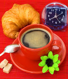Coffee Break. Breakfast products isolated on red bakground Stock Photo