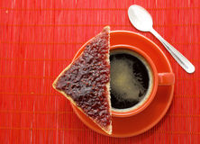 Coffee Break. Healthy breakfast with cup of coffee and slice of bread with jam Stock Photos