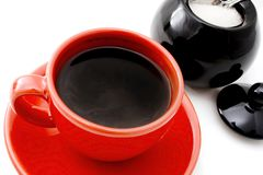 Coffee Break. Red cup of coffee and sugar isolated on withe royalty free stock photo