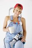 Coffee break. Female worker having a coffee break royalty free stock photography