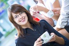 Coffee break. Portrait of young pretty women having coffee break in office environment royalty free stock photos