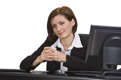 Coffee break. Businesswoman holding a tasty coffee cup at her office Stock Images