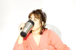 Coffee Break. Woman Drinking From Her Mug Stock Photo