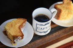 Coffee break!. Afternoon cake with a black coffee Royalty Free Stock Photos