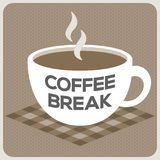 Coffee break alphabet on cup. Of hot coffee on check napkin, monotone Stock Photography