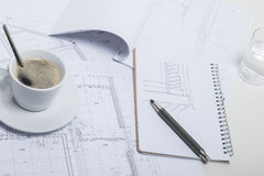 Coffee break at an architect Royalty Free Stock Image