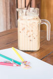 Coffee break on artist work table Royalty Free Stock Photos