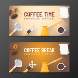 Coffee break banner backdrops templates Royalty Free Stock Photo