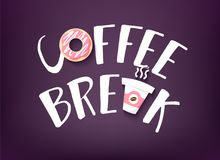 Coffee Break banner with text, doughnut and two cup of coffee on dark background. Vector card.  Royalty Free Stock Image