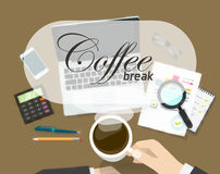 Coffee break banner vector, rest time concept on office workspace Stock Image