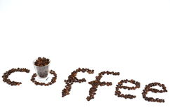 Coffee break. Coffee beans to compose a written Stock Image