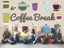 Coffee Break Beverage Pause Relaxation Casual Concept. Diverse people sitting coffee break beverage pause relaxation casual background Royalty Free Stock Image
