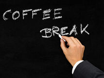 Coffee break blackboard writing Stock Images