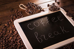 Coffee break board with grains Stock Image