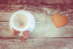 Coffee break, breakfast. Cup of coffee with biscuit cookies Royalty Free Stock Photos