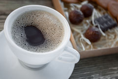 Coffee break, breakfast. Cup of coffee with biscuit cookies Royalty Free Stock Image
