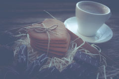 Coffee break, breakfast. Cup of coffee with biscuit cookies Royalty Free Stock Photography
