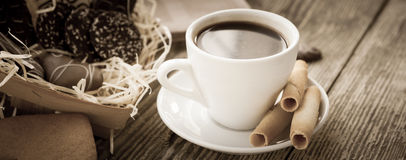 Coffee break, breakfast. Cup of coffee with biscuit cookies Stock Images