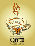 Coffee break with brown background. Love coffee break floral vintage Royalty Free Stock Images