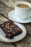 Coffee break with brownies. Drink at the dawn of middle age. Strengthen energy, but fat stock images