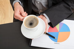 Coffee break during business analysis Royalty Free Stock Photography