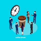 Coffee break, business people drink coffee in the interval between work in the office. An isometric image stock illustration