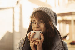 Coffee break, business woman with cup of coffee drink, activity Stock Images