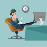 Coffee Break. Businessman Relaxing at Office Work. Character illustration Stock Photos