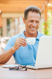 Coffee break in cafe. Royalty Free Stock Photo