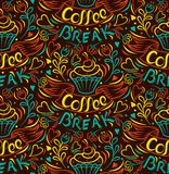 Coffee break. Cake draw by hand, clipped seamless background. Painted by hand ribbon letter. Vintage style poster Stock Images
