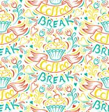 Coffee break Cake draw by hand clipped seamless background Stock Photo
