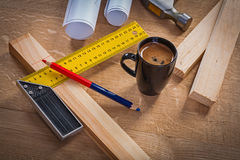 Coffee break of carpenter construction concept Royalty Free Stock Photo