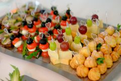 Coffee break, catering a business conference. Cakes stock photo