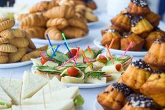 Coffee break, catering a business conference. A Coffee break, catering a business conference stock image