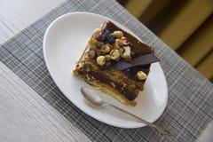 Coffee break with choco cake Stock Photos