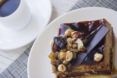 Coffee break with choco cake Royalty Free Stock Image
