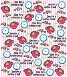 Coffee Break and Clocks on Stripe Pattern Royalty Free Stock Photography