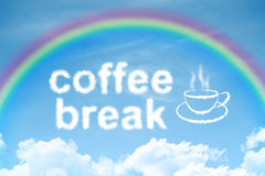 Coffee break cloud text with rainbow and cup Stock Images