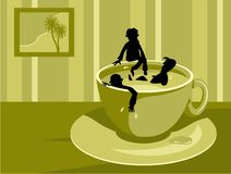 Coffee Break Concept. Silhouette of group of people bathing in a cup of coffee Royalty Free Stock Photos