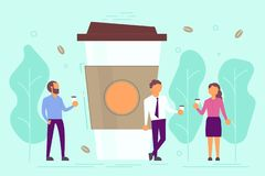 Coffee break concept vector illustration in flat style. Coffee break concept vector illustration. Group of business people drinking coffee while talking to each vector illustration