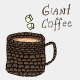 Coffee break concept wallpaper. With giant coffee cup made of bricks. RGB vector illustration