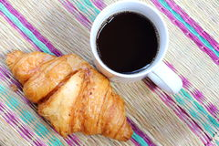 Coffee break and croissant Royalty Free Stock Photo