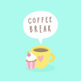 Coffee break. Cup and cupcake. Royalty Free Stock Photos