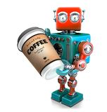 Coffee break. Cup of coffee in hand of retro robot. 3D illustration. Isolated. Contains clipping path stock illustration