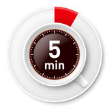 Coffee break. Cup of coffee with time limit for break: five minutes. Illustration on white background Royalty Free Stock Photography