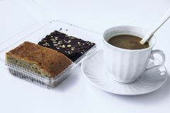 Coffee break with dessert. Drink at the dawn of middle age. Strengthen energy, but fat stock photography