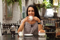 Coffee Break For Happy Young Mediterranean Woman Royalty Free Stock Photography