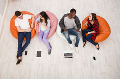 Coffee break, group of students preparing for exam Royalty Free Stock Photos