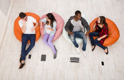 Coffee break, group of students preparing for exam Royalty Free Stock Photo