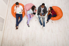 Coffee break, group of students preparing for exam Stock Images